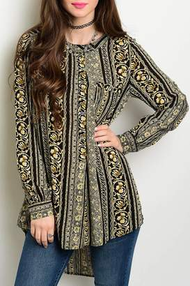Honey Punch Print Tunic Blouse