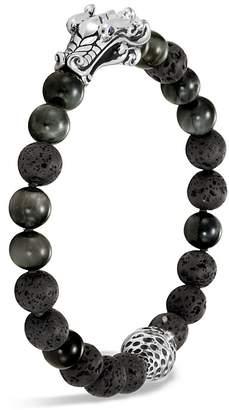 John Hardy Men's Sterling Silver Legends Naga Black Volcanic Rock Beaded Bracelet with Sapphire Eyes