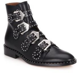 Givenchy Studded Leather Buckled Ankle Boots $1,395 thestylecure.com