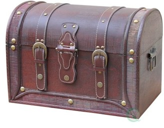Trunks Vintiquewise Antique Style Wood And Leather Trunk With Round Top
