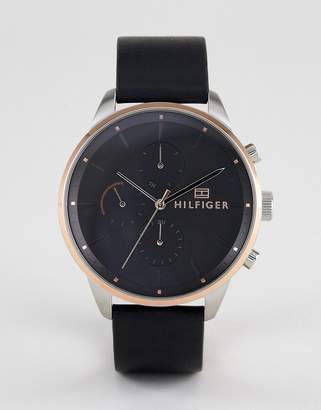 Tommy Hilfiger 1791488 Chronograph Leather Watch In Black 44mm