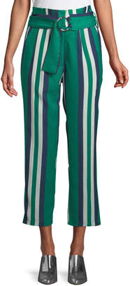 J.o.a. Striped Paperbag Cropped Pants