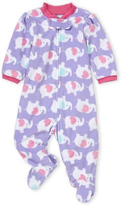 Little Me Newborn Girls) Purple Elephant Fleece Footie