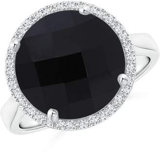 Angara.com Round Onyx Cocktail Ring for Women with Diamond Halo in 14K White Gold (12mm Onyx)