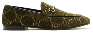 Gucci - Jordaan Logo Jacquard Velvet Loafers - Womens - Khaki