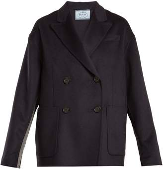 Prada Double-breasted peak-lapel wool-blend coat