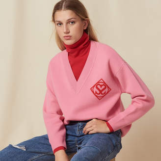 Sandro V neck sweater with logo