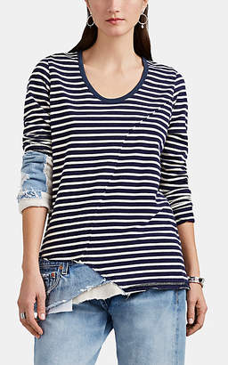 Greg Lauren Women's Christian Mixed-Media Slim Long-Sleeve T-Shirt - Navy