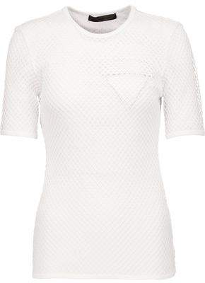 Alexander Wang Layered Cotton-Mesh And Leather-Appliquéd Jersey T-Shirt