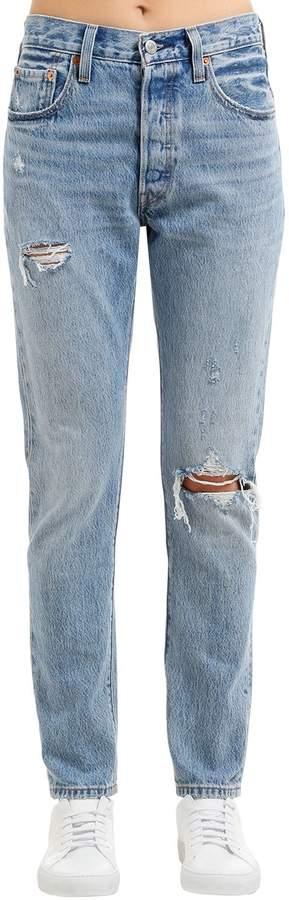 Enge Jeans Aus Baumwolldenim Mit Rissen