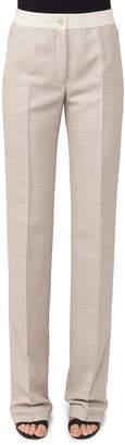 Akris Carl Straight-Leg Pique Pants with Elastic Waistband