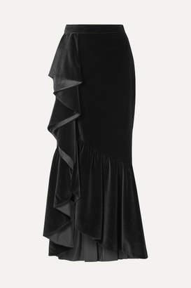Alice + Olivia Arianna Ruffled Velvet Maxi Skirt - Black