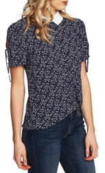 CeCe Floral Tie Sleeve Collared Blouse