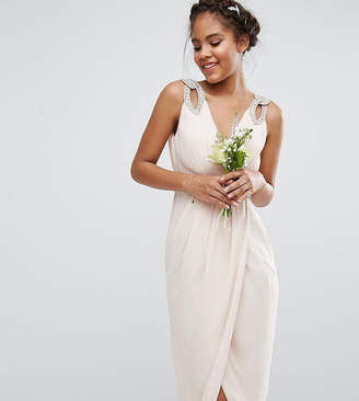 TFNC Tall Tall WEDDING Wrap Embellished Midi Dress