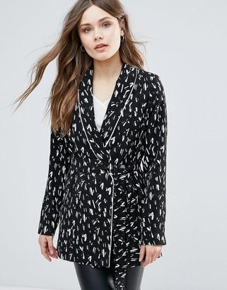 Helene Berman Black Crepe Kimono Belted Top