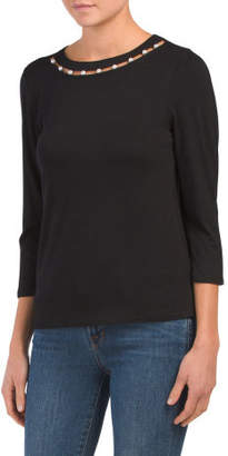 Top With Faux Pearl Neckline