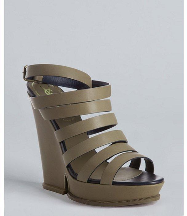 Yves Saint Laurent khaki leather 'Kilima' strappy wedge sandal