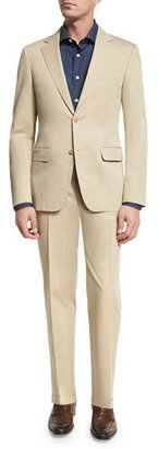 Canali Solid Stretch-Cotton Two-Piece Suit, Khaki $1,595 thestylecure.com