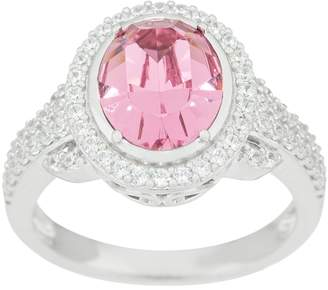 Diamonique Pink Simulated Diamond Oval Ring, Sterling Silver