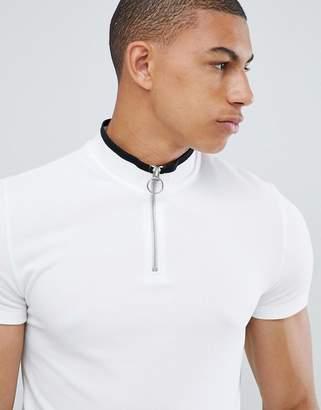 Asos Design DESIGN muscle fit pique zip neck turtleneck t-shirt