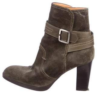 Tod's Suede Stacked-Heel Ankle Boots w/ Leather Straps