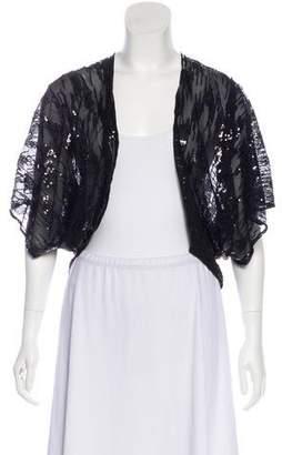 Armani Collezioni Embellished Semi-Sheer Cardigan