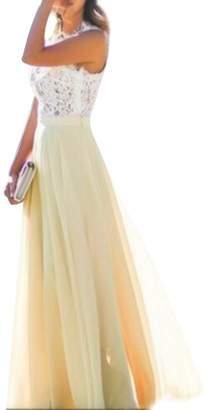 OMZIN Women's Vintage Lace Chiffon Formal Party Gown Wedding Maxi Long Dress ,M