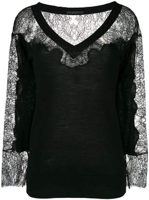 Ermanno Scervino lace panel V-neck blouse
