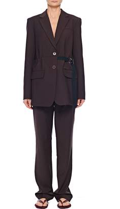 Tibi Tropical Wool Blazer with Belt