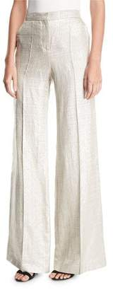 Etro Wide-Leg Metallic Silk/Linen Pants