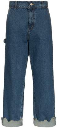 J!NS Ader Error Turn Up Torn Hem Cotton Jeans