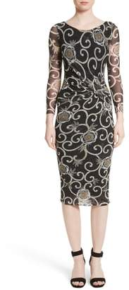Fuzzi Floral Print Ruched Tulle Dress
