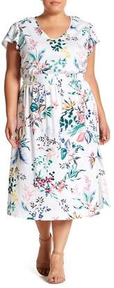 Joe Fresh Floral V-Neck Midi Dress (Plus Size)