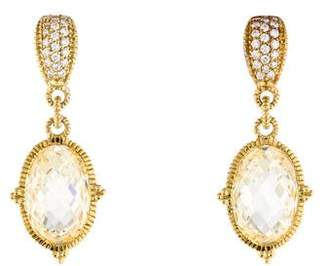 Judith Ripka 18K Diamond & Crystal Drop Earrings