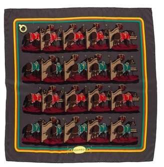 Hermes Ecuries Silk Pocket Square