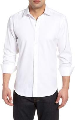 Bugatchi Shaped Fit Checkerboard Jacquard Sport Shirt