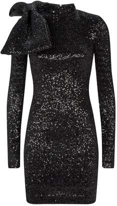 Rebecca Vallance Long Sleeve Bow-Embellished Sequin Dress