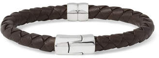 Bottega Veneta Intrecciato Leather and Silver Bracelet