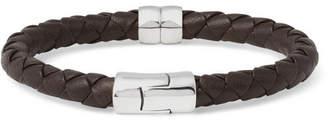 Bottega Veneta Intrecciato Leather And Silver Bracelet