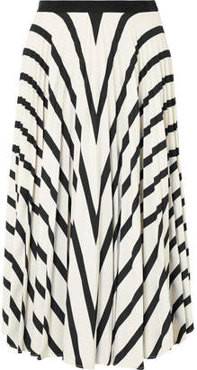 Vanessa Bruno Fadia Pleated Striped Crepe Midi Skirt - White