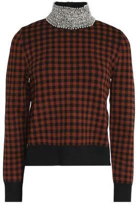 Ganni Embellished Checked Stretch-Knit Turtleneck Sweater