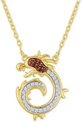 Macy's Diamond Dragon Pendant Necklace (1/10 ct. t.w.) in 14k Gold-Plated Sterling Silver
