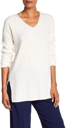 Lafayette 148 New York Ribbed Wool Blend V-Neck Sweater (Petite)