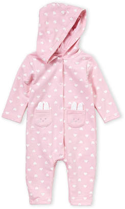 Absorba Newborn Girls) Pink Bunny Hooded Coverall