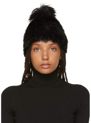 Yves Salomon Black Knitted Rabbit Pom Pom Beanie