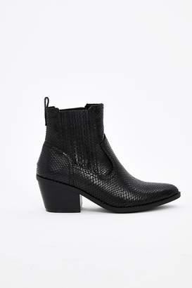 WallisWallis Black Snake Print Cowboy Boot