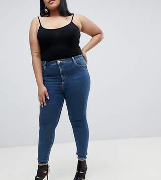 Asos Design Curve Ridley High Waist Skinny Jeans In Dena Mid Blue Wash