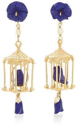 Lapis Of Rare Origin Pagoda 18K Yellow Gold Vermeil and White Agate Earrings