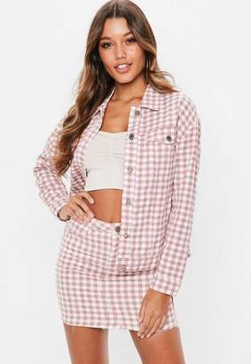 Missguided Pink Gingham Regular Fit Jacket, Pink