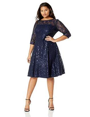 8616e98749f S.L. Fashions Women s Plus Size Lace and Sequin Fit and Flare Dress